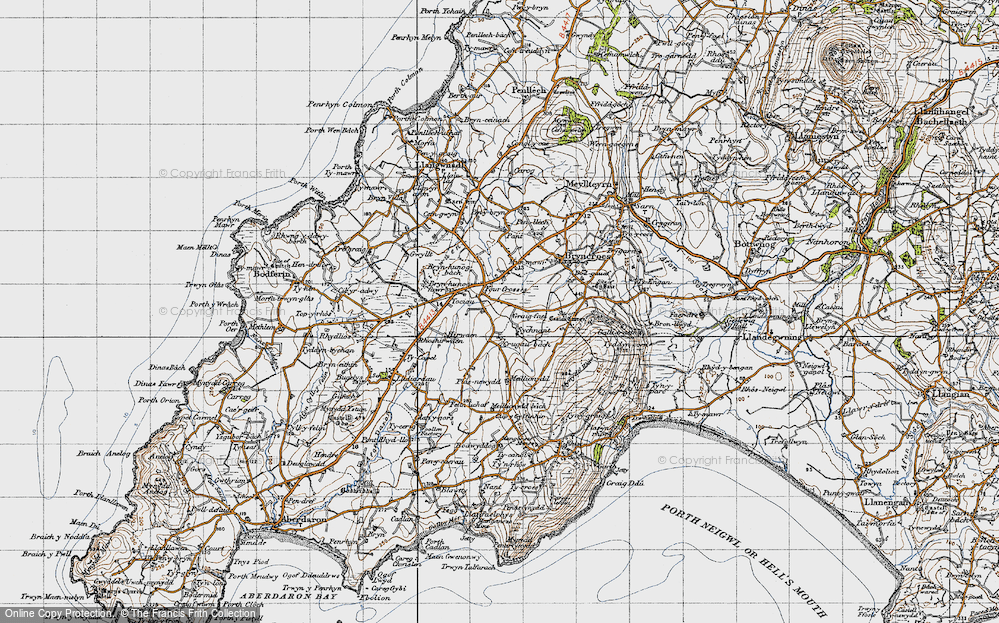 Old Map of Historic Map covering Tocia in 1947