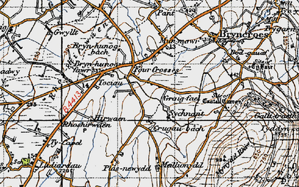 Old map of Tocia in 1947