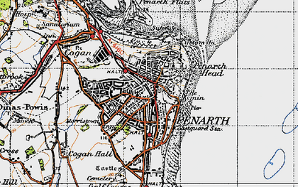 Old map of Penarth in 1947