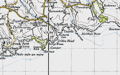 Old map of Penberth in 1946