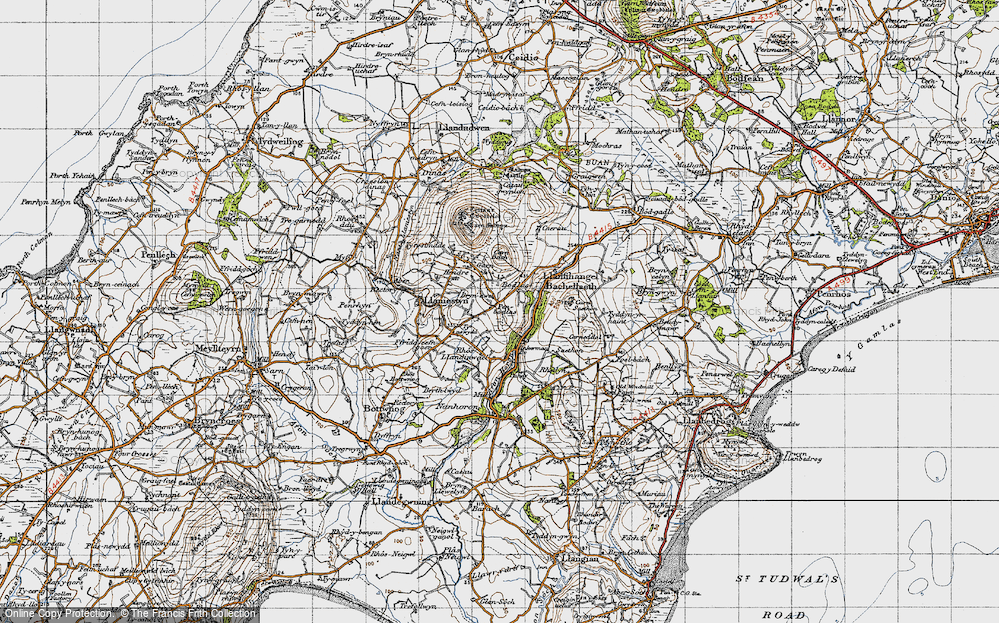 Old Map of Historic Map covering Afon Horon in 1947