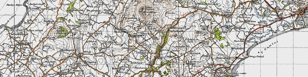 Old map of Afon Horon in 1947