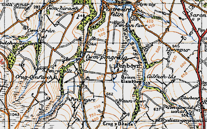 Old map of Tomenlawddog in 1947