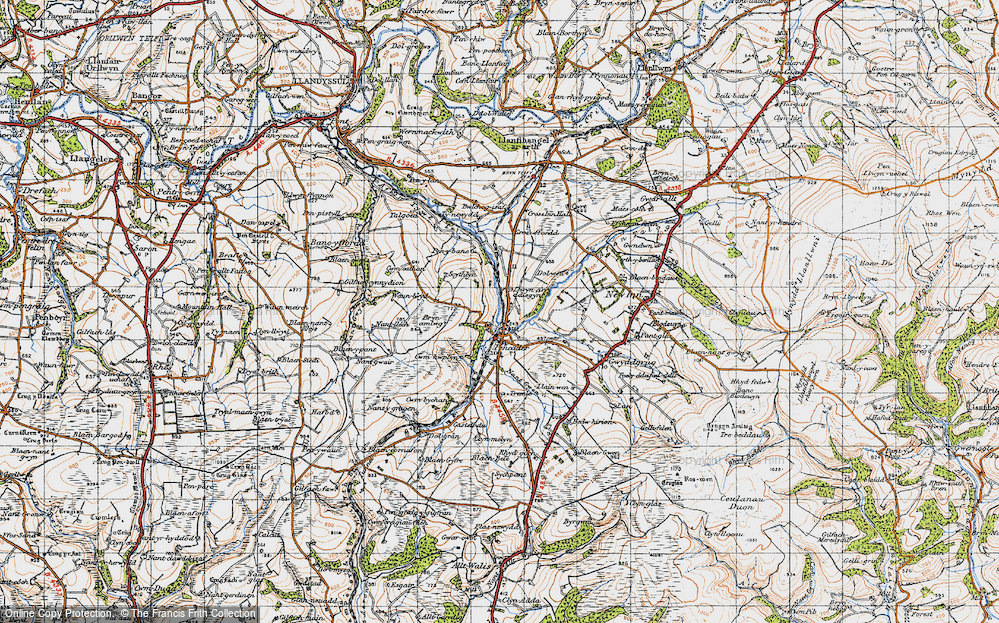 Old Map of Historic Map covering Afon Talog in 1947