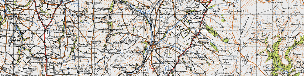 Old map of Afon Talog in 1947