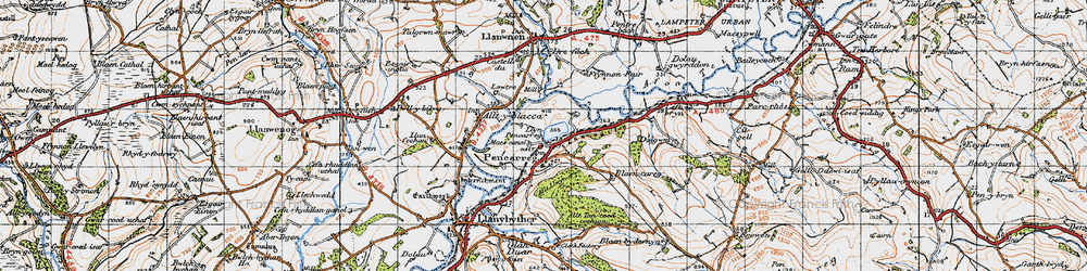 Old map of Abergrannell in 1947