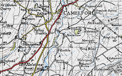 Old map of Pencarrow in 1946