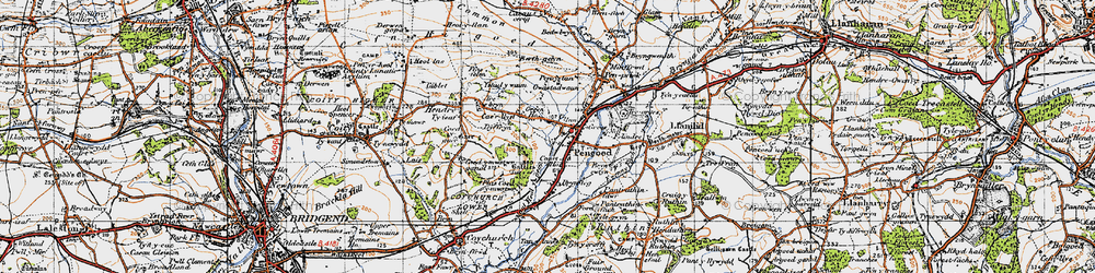 Old map of Pencoed in 1947
