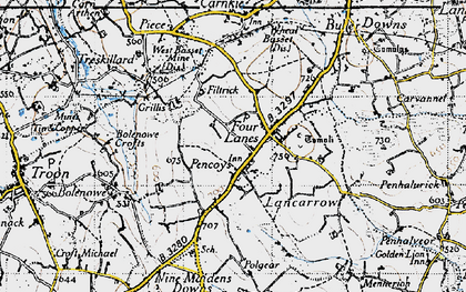 Old map of Pencoys in 1946