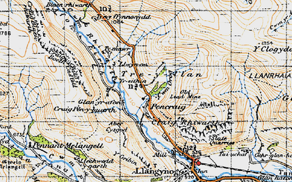 Old map of Afon Disgynfa in 1947