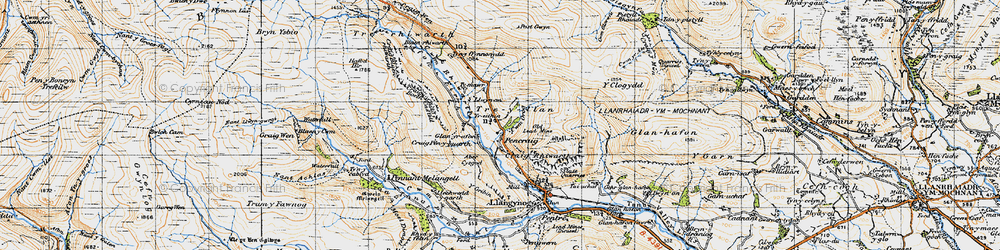 Old map of Afon Tanat in 1947