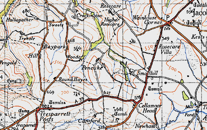 Old map of Pencuke in 1946