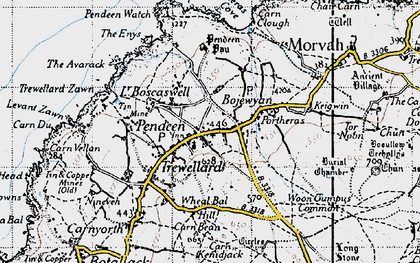 Old map of Pendeen in 1946
