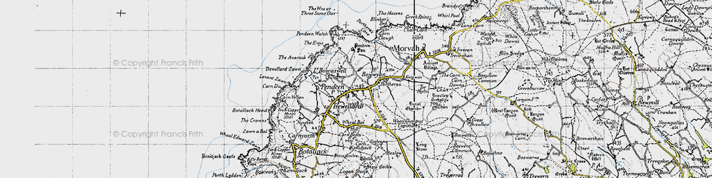 Old map of Wheal Bal Hill in 1946