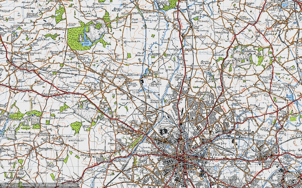 Old Map of Historic Map covering Autherley Junction in 1946
