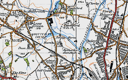 Old map of Autherley Junction in 1946