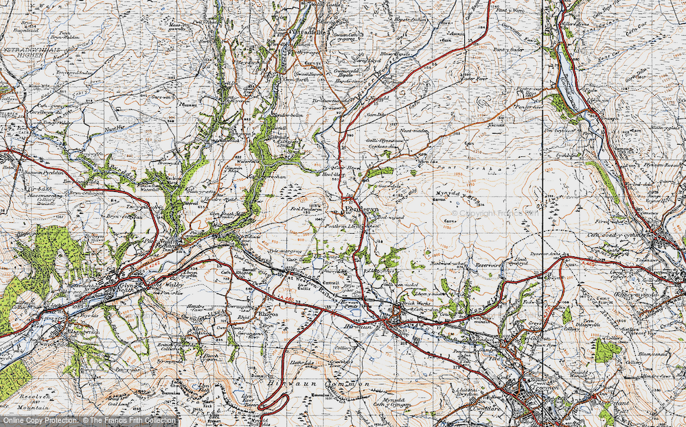 Old Map of Historic Map covering Afon Mellte in 1947