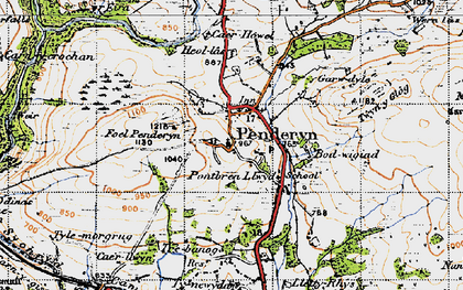 Old map of Afon Hepste in 1947