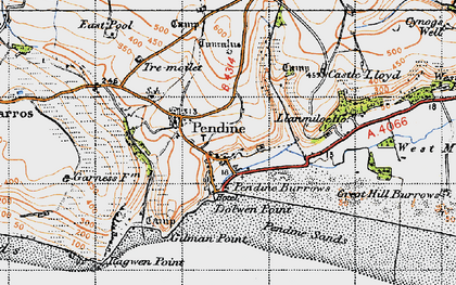 Old map of Pendine in 1946