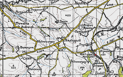 Old map of Pendoggett in 1946