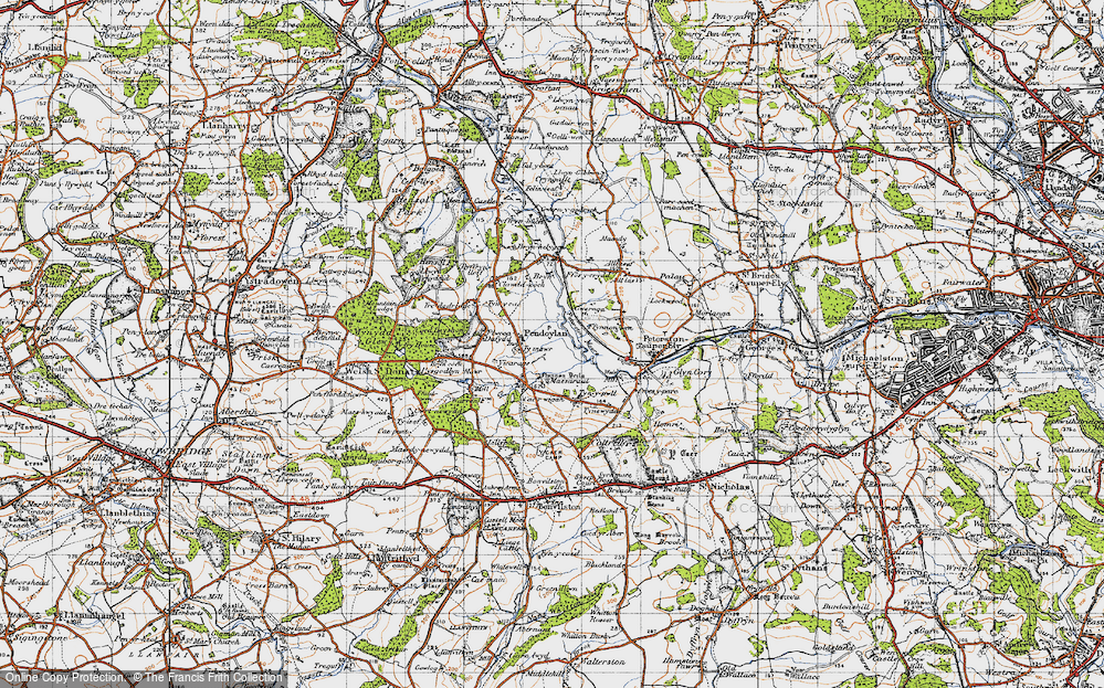Old Map of Historic Map covering Allt Laes in 1947