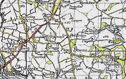 Old map of Penelewey in 1946