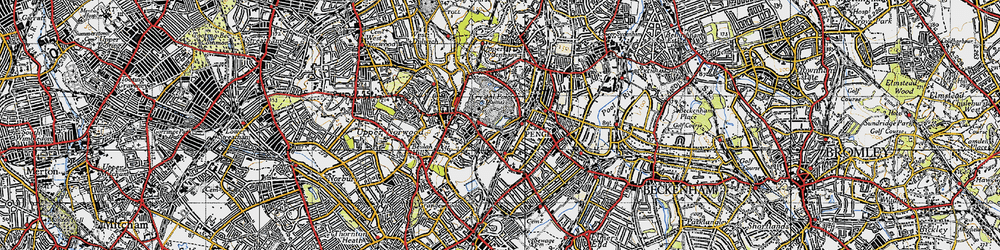 Old map of Penge in 1946