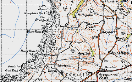 Old map of Pengold in 1946