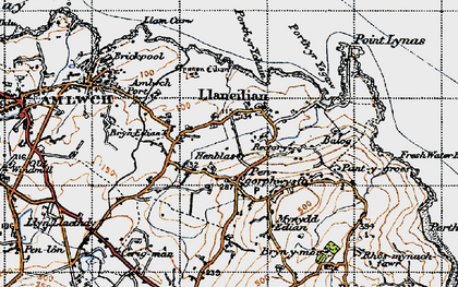 Old map of Pengorffwysfa in 1947