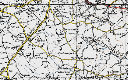 Old map of Penhalurick in 1946