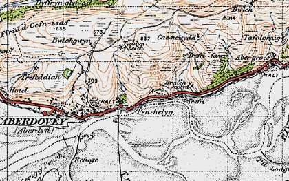 Old map of Aber-Tafol in 1947