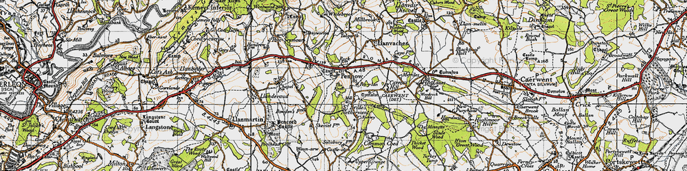 Old map of Penhow in 1946