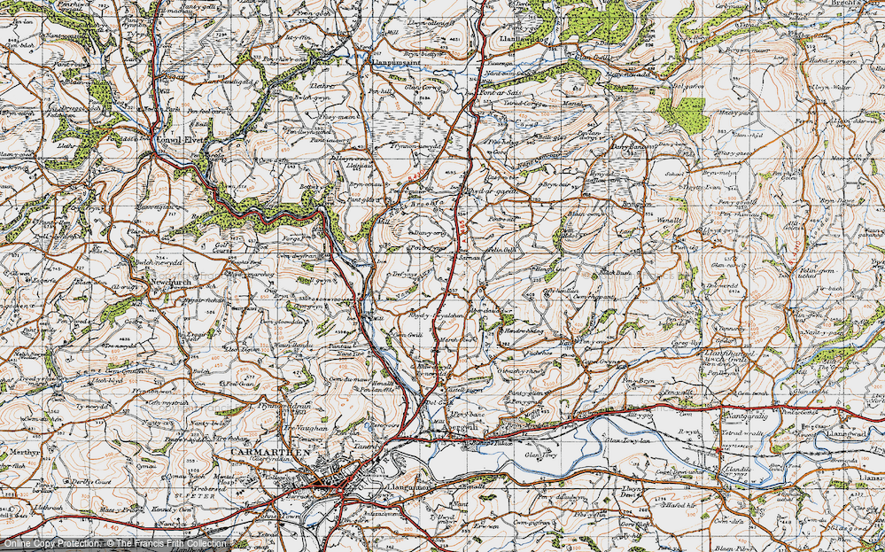 Old Map of Historic Map covering Aberdauddwr in 1946