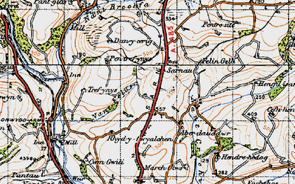 Old map of Afon Gwili in 1946