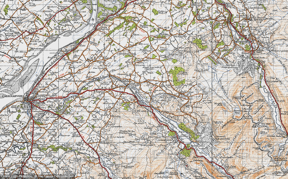 Old Map of Historic Map covering Afon Rhythallt in 1947