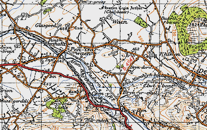 Old map of Afon Rhythallt in 1947