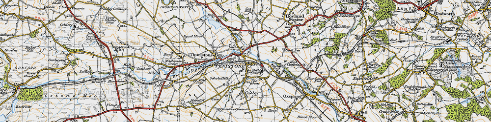 Old map of Penistone in 1947