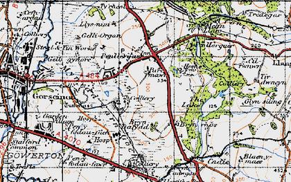 Old map of Penllergaer in 1947