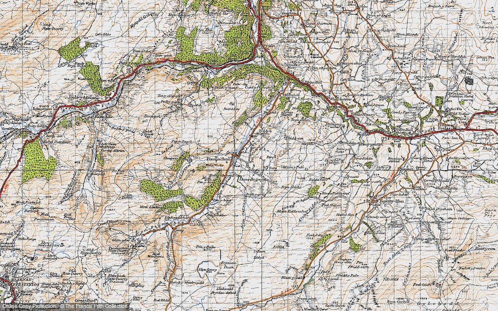 Old Map of Historic Map covering Afon Oernant in 1947