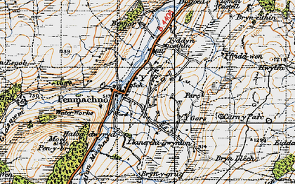 Old map of Afon Rhydyrhalen in 1947