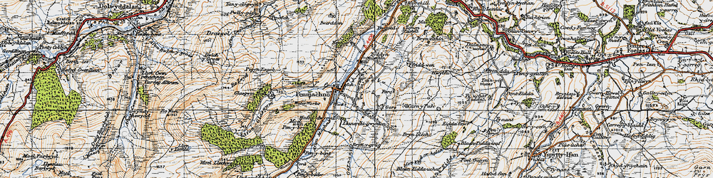 Old map of Afon Machno in 1947
