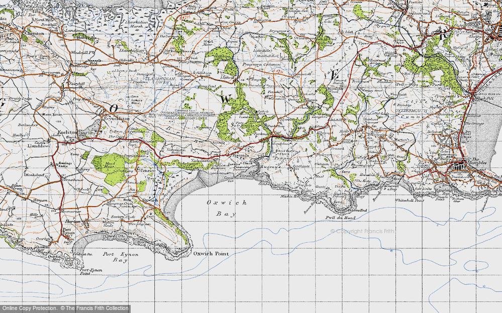 Old Map of Penmaen, 1947 in 1947