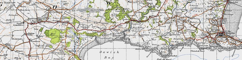 Old map of Penmaen in 1947