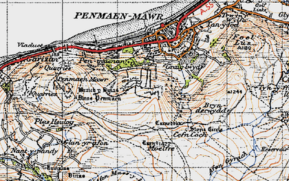 Old map of Afon Maes-y-bryn in 1947