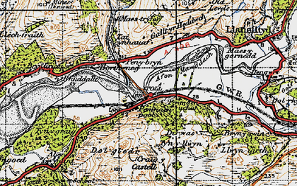 Old map of Penmaenpool in 1947