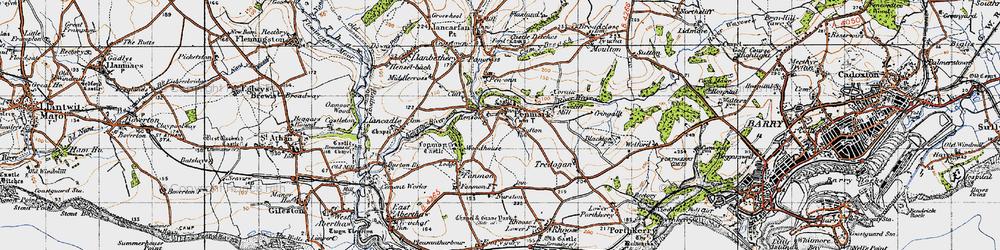 Old map of Penmark in 1947