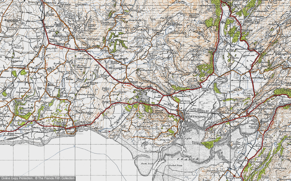 Old Map of Historic Map covering Y Fedw in 1947