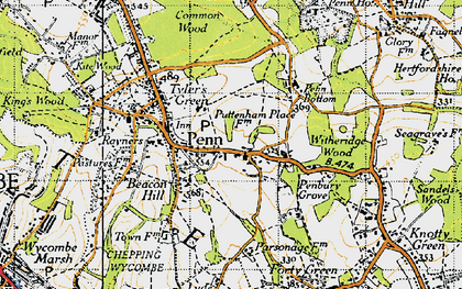 Old map of Penn in 1945