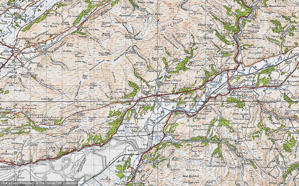 Old Map of Historic Map covering Afon Alice in 1947