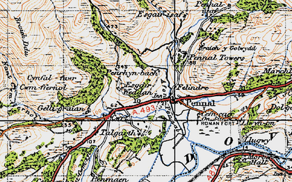 Old map of Pennal in 1947